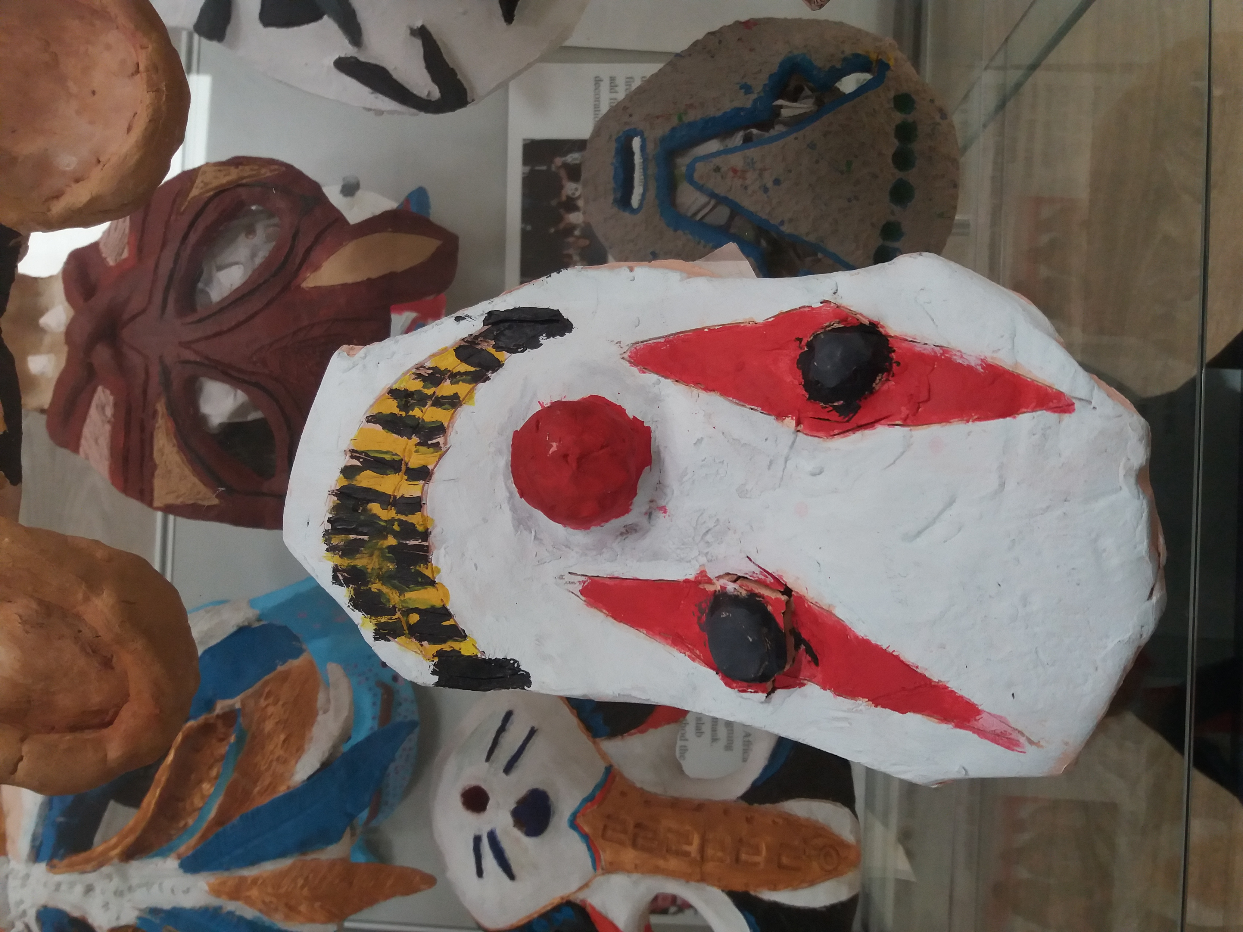 Masks on display in hinchingbrooke hospital by year 8 art students